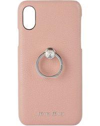 Miu Miu Pink Madras Crystal Ring Iphone X/xs Case
