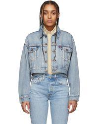 Levi's Blue Denim Cropped Dad Trucker Jacket