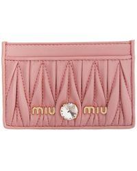 Miu Miu ピンク キルト クリスタル カード ホルダー