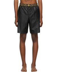 Versace - Black Greek Key Swim Shorts - Lyst