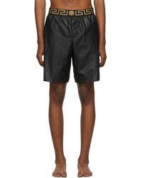 Versace Black Greek Key Swim Shorts