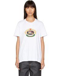 Burberry - White Embroidered Logo Boyfriend T-shirt - Lyst