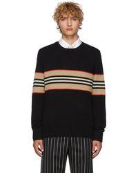 Burberry ブラック アイコン ストライプ セーター