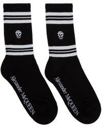 Alexander McQueen Black And White Stripe Skull Sport Socks