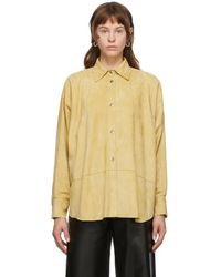 Loewe イエロー スエード オーバーサイズ シャツ