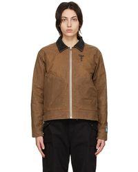 Reese Cooper Waxed Cotton Biker Jacket - Brown
