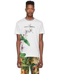 Dolce & Gabbana ホワイト オーキッド プリント T シャツ