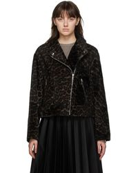 Yves Salomon Black And Beige Lacon Lamb Leopard Jacket