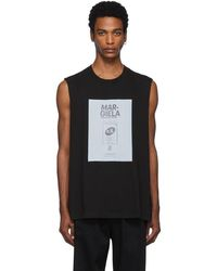 Maison Margiela ブラック ガーメント ダイ スリーブレス T シャツ