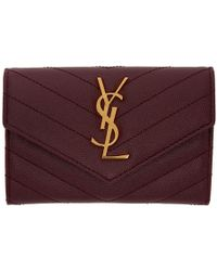 Saint Laurent - Red Small Envelope Foldover French Wallet - Lyst
