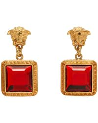Versace Gold And Red Square Crystal Medusa Earrings