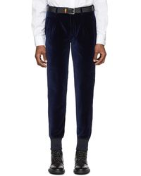 Paul Smith Navy Velvet Jogger Pants - Blue