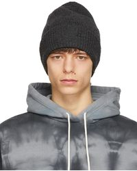 Helmut Lang Gray Heritage Distressed Beanie