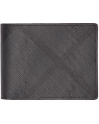 Burberry - Grey And Black London Check Hipfold Wallet - Lyst
