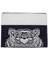 KENZO - Pochette contrastee bleu marine et blanche Tiger edition limitee - Lyst