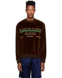 Gucci Logo Embroidered Sweatshirt - Brown