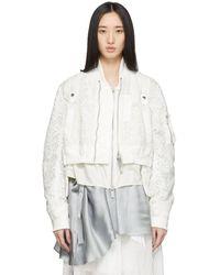 Sacai White Embroidered Lace Bomber Jacket