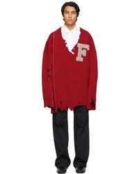 Raf Simons - レッド オーバーサイズ F セーター - Lyst