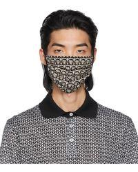Ferragamo ブラック & ベージュ シルク ロゴ マスク