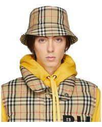 Burberry Beige Vintage Check Bucket Hat - Multicolor