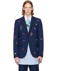 Gucci - Blue Formal Monaco Blazer - Lyst