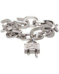 Givenchy Silver G Link Padlock Bracelet - Metallic