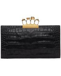 Alexander McQueen - Black Croc Four Ring Clutch - Lyst