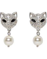 Miu Miu - Silver Pearl And Crystal Cat Earrings - Lyst