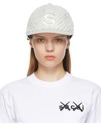Sacai オフホワイト & シルバー ロゴ キャップ