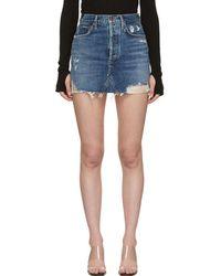 Agolde - Quinn High-rise Frayed Denim Skirt - Lyst