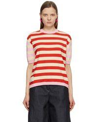 Sunnei Pull à manches courtes rayé blanc cassé et rouge Classic