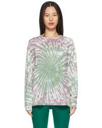 Lacausa T-shirt à manches longues vert et mauve à motif tie-dye
