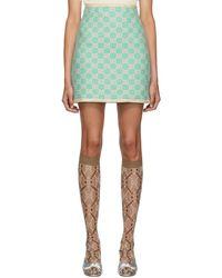 Gucci ブルー GG ツイード ミニスカート