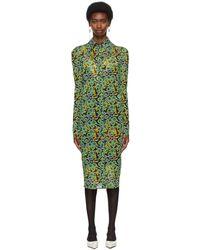 Kwaidan Editions Ssense Exclusive Black & Green Button Down Dress