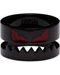 Fendi Black Bag Bugs Shiny Red Eyes Ring