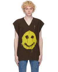 MISBHV Brown Smiley V-neck Vest - Green