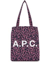 A.P.C. - ネイビー And ピンク レオパード Diane トート - Lyst