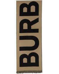 Burberry タン ウール ロゴ マフラー - ブラウン