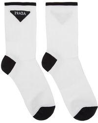 Prada - White Triangle Logo Socks - Lyst