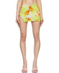 Louisa Ballou Pink & Green Double Ring Miniskirt - Multicolor