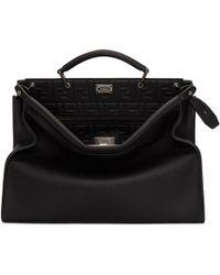 Fendi - Black Embossed Signature Peekaboo Briefcase - Lyst