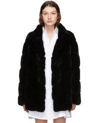 Yves Salomon Black Rex Rabbit Fur Long Jacket