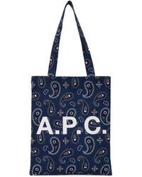 A.P.C. Lou Paisley Print Logo Tote - Blue