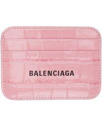 Balenciaga - ピンク クロコ Cash カード ケース - Lyst