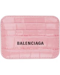 Balenciaga Porte-cartes embossé façon croco rose Cash