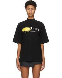 Palm Angels ブラック Los Angeles スプレー ロゴ T シャツ
