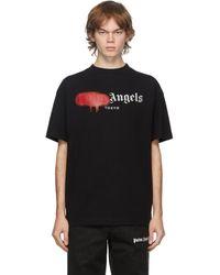 Palm Angels Black Tokyo Logo Sprayed T-shirt