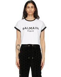 Balmain - ホワイト And ブラック クロップド ロゴ T シャツ - Lyst