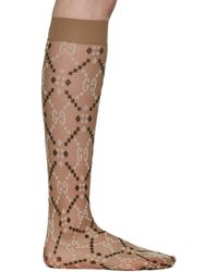 Gucci Beige Jacquard Mesh GG Socks - Natural