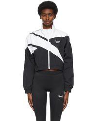 Reebok & White Cropped Vector Track Jacket - Black